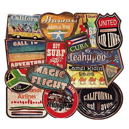 36 Stuks Waterdichte Pvc Retro Strand Surfen Stickers Gitaar Skateboard Koffer Meisje Kinderen Grappige Graffiti Sticker Kind Speelgoed