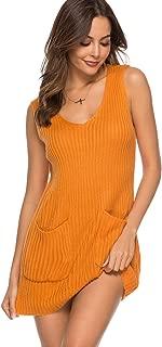 Koitmy Womens V Neck Sleeveless Knit Loose Tank Sweater Dresses with Pockets