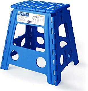 Acko 16 Inches Super Strong Folding Step Stool for Adults and Kids, Kitchen Stepping Stools, Garden Step Stool Blue