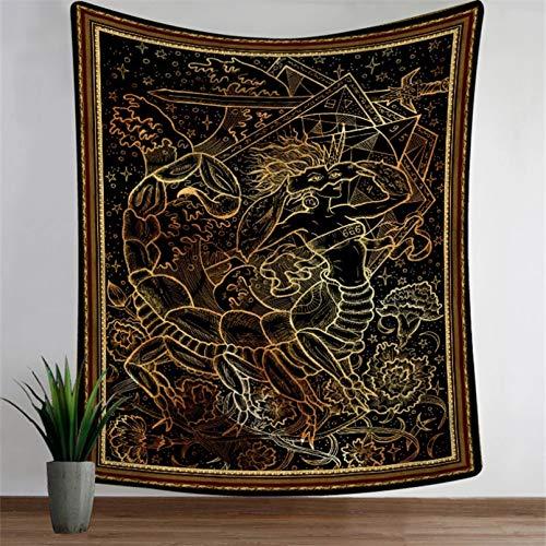 N/A Tapices 3D Impresión Tapiz Serie Mandala Tapiz para el hogar Impreso Toalla de Playa montada en la Pared Manta para Sentarse en la Playa 12 Constelaciones Regalo de Arte de decoración del hogar