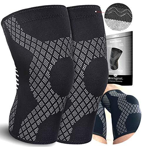 aZengear Rodillera para Hombre y Mujer - Rodillera Deportiva con la Mejor compresión de rótula para menisco y Artritis, Correr, Crossfit, Levantamiento de Pesas, Sentadillas (Large)