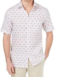 Tasso Elba Island Men's Medallion-Print Linen Shirt