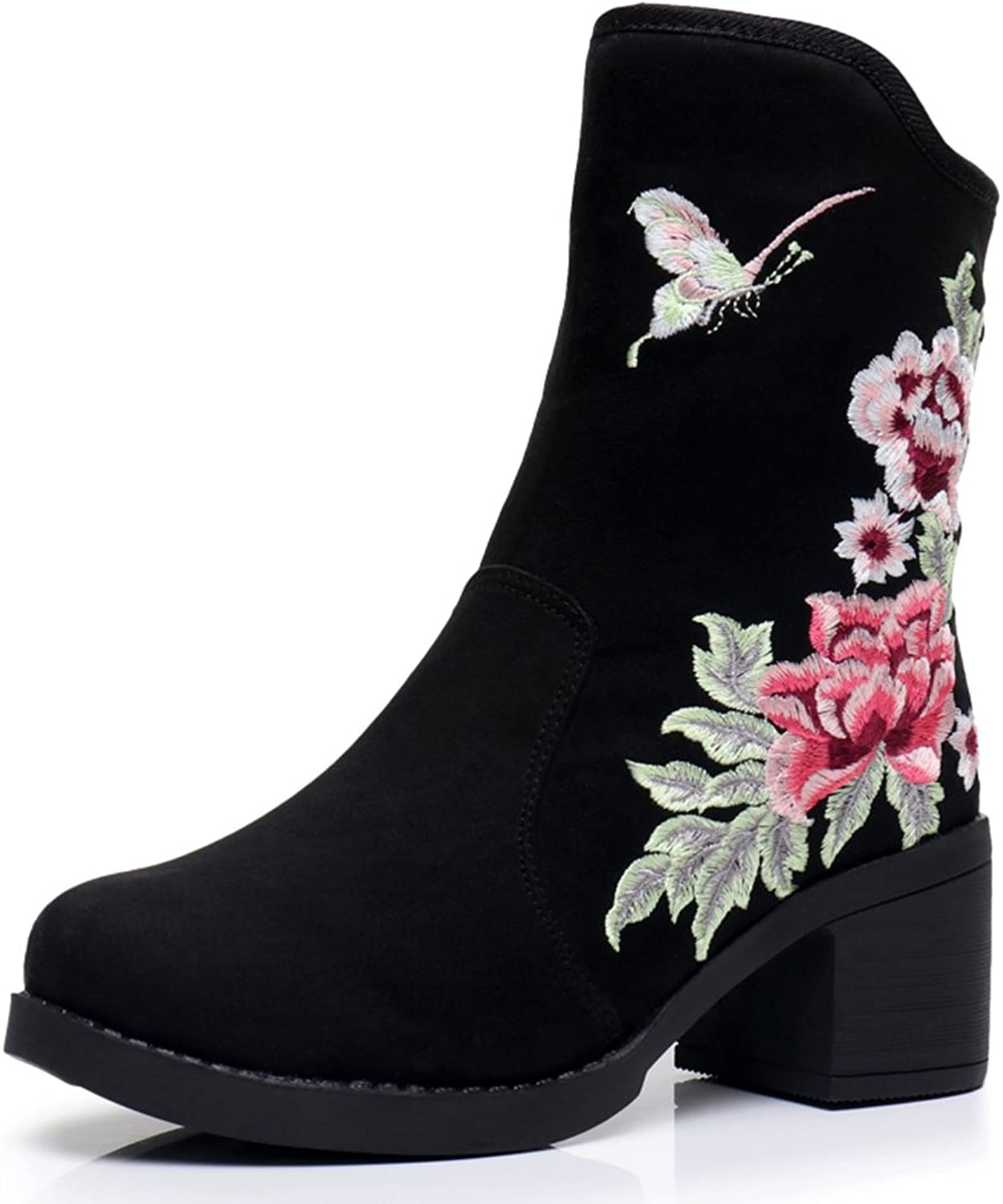 Veowalk Winter Women's Cotton Fabric Mid-Calf Boots Ladies Butterfly Embroidered Puppy Heel shoes