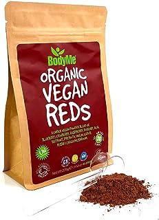 BodyMe Orgánico Vegano Rojo Polvo | 270g | Super Reds Mezcla | Con Arándano Arándano Rojo Frambuesa Rosa Mosqueta Açaí Remolacha Inulina Prebiótica Algarrobo Seta Reishi Reta Chaga