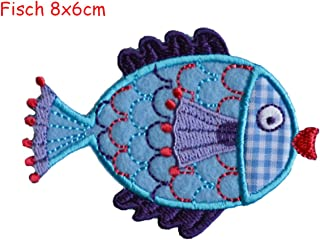 Iron-on patches embroidered applique by TrickyBoo - Fish 8X6Cm Sequin Christmas Decorative Novelty Letter Embroidered Appliques Stripy Monster Lig