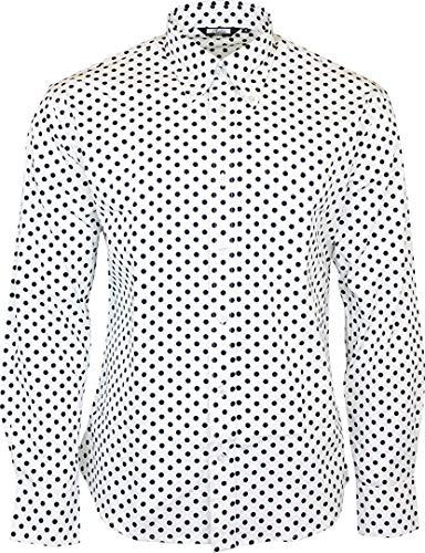 Relco Hombre Blanco Lunares Manga Larga con Botones 100% Camisa de Algodón - Blanco, XL