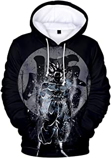 Bettydom Unisex Hoodies 3D Printed Sweatshirt Long Sleeves Pullover with Dragon Ball for Men Women