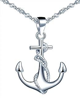 Collier Pendentif Homme Acier Inoxydable Ancre Marine Plaque Rond Chaîne Cadeau