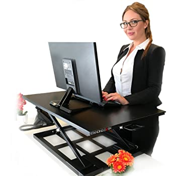 """Standing Sit and Stand Up Desk - Easy Height Adjustable Table Jack Desk Converter with Huge 32"""" x 22"""" Instantly Convert any Variable Portable Computer Monitors for Work Home by Elevating in Seconds"""