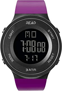 Digital Sports Watch Outdoor Electronic Ultra Thin LED Large Face Military Light Black Stopwatch Alarm Men's Wristwatch (Purple) …