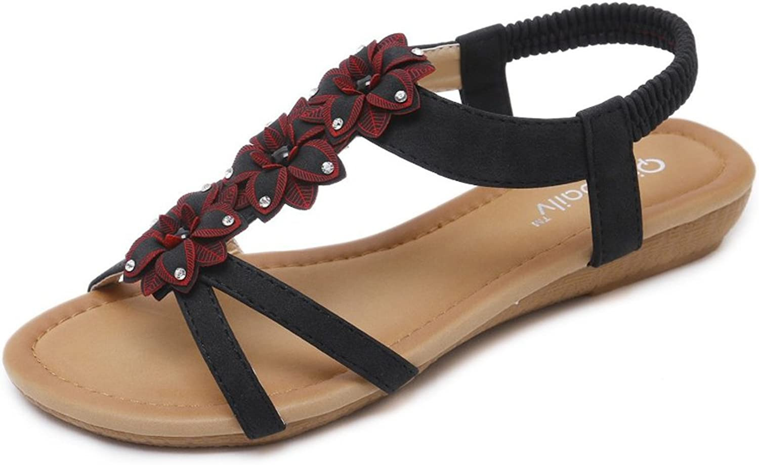 Kyle Walsh Pa Women Flat Sandals,Sweet Bohemia Flowers Peep Toe Holiday Beach shoes Black