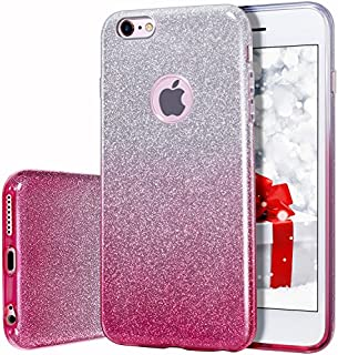 MILPROX Bling Glitter Pretty Sparkle 3 Layer Hybrid Anti-Slick/Protective/Soft Slim TPU Case Compatible with iPhone 6s Plus / 6 Plus- Pink Silver