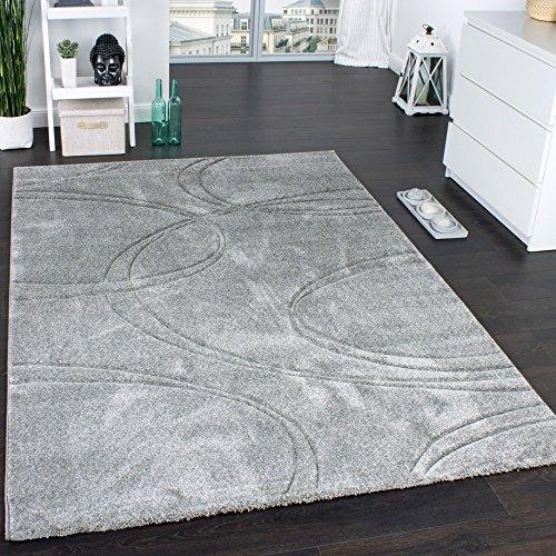 Paco Home Teppich Einfarbig Designerteppich mit Handgearbeitetem Konturenschnitt Uni Grau, Grösse:160x230 cm