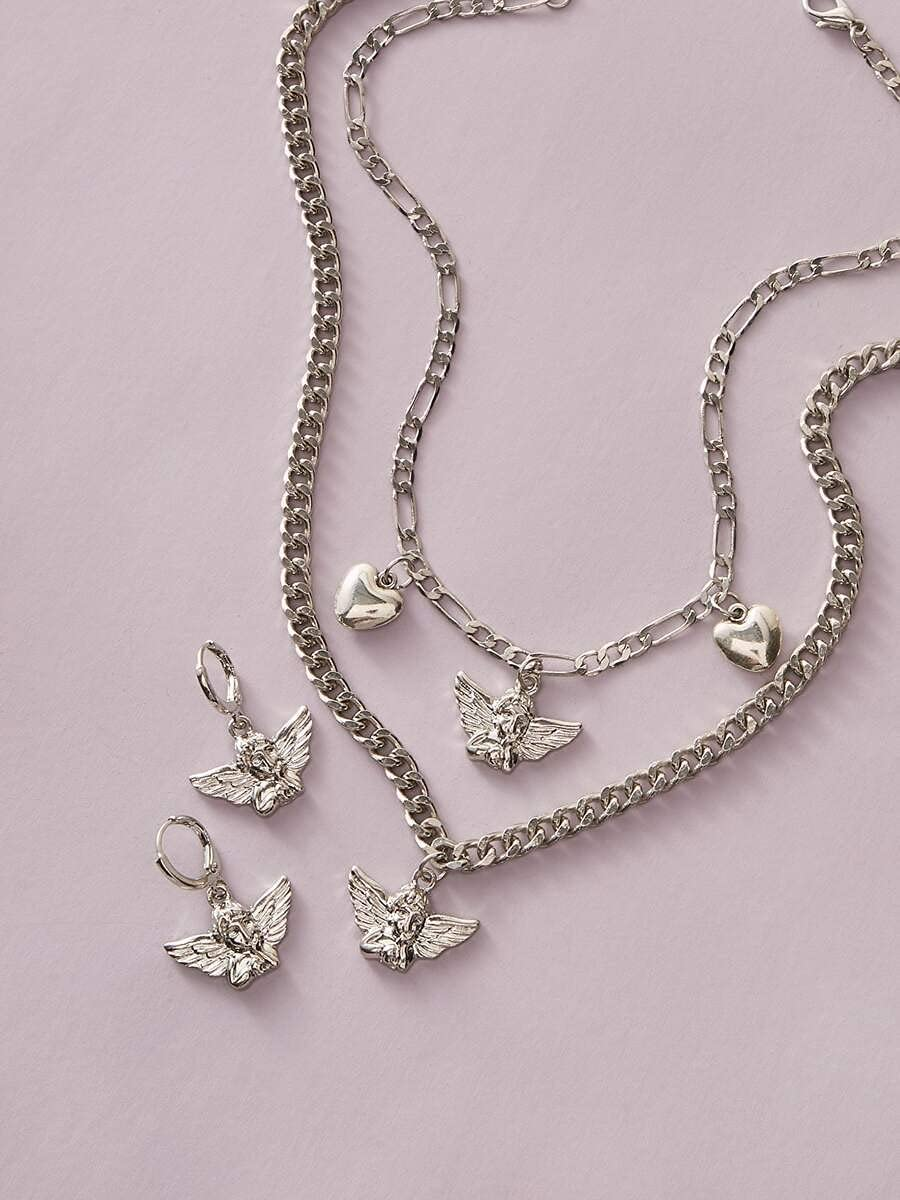 BAOBUM Jewelry Set 4pcs Max 53% Low price OFF Angel : Color Earrings Charm Necklace