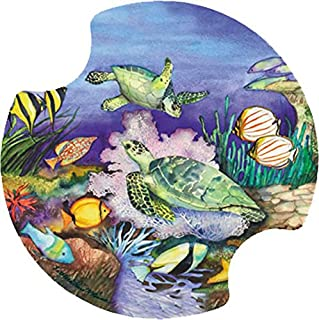Thirstystone Green Sea Turtles Car Cup Holder Coaster, 2-Pack