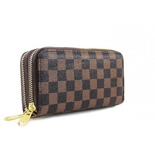 0ba841687427a LeahWard® Damen Double Or Single Zip Kunstleder Geldbörsen Damen  Brieftaschen Coin Taschen Geldbörsen