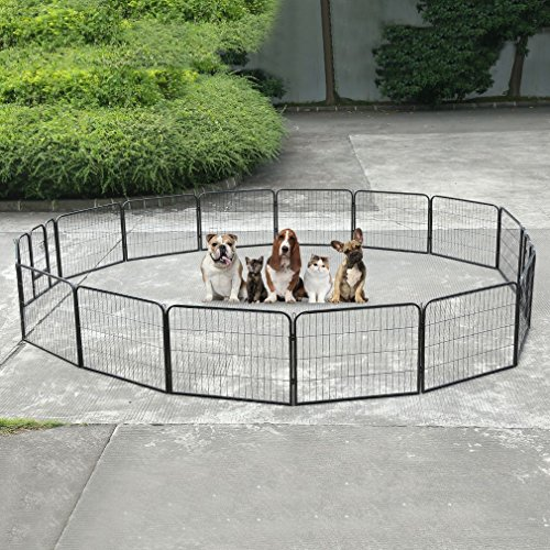 "GOGOUP Dog Pets Metal Fence, 16 Panel, Portable Outdoor RV Play Yard | Metal Outside Pet Large Playpen | Indoor Puppy Kennel Cage Crate Enclosures | 24"" Height"