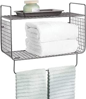 mDesign Metal Wire Farmhouse Wall Decor Storage Organizer 2 Tier Shelf with Towel Bar for Bathroom, Laundry Room, Kitchen, Garage - Wall Mount - Graphite Gray