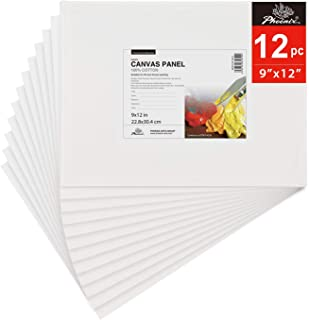 PHOENIX Painting Canvas Panel Boards - 9x12 Inch / 12 Pack - 1/8 Inch Deep Super Value Pack for Oil & Acrylic Paint