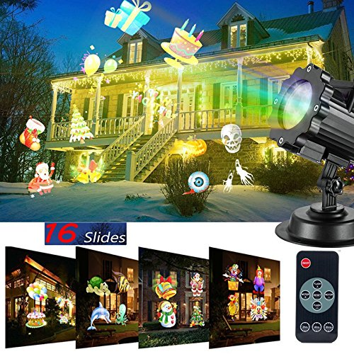 New LED Christmas Projector decoration light 15 slides indoor/outdoor mini spotlight for children and adults,Garden Projector landscape light for holiday birthday Christmas Halloween (Warm White)
