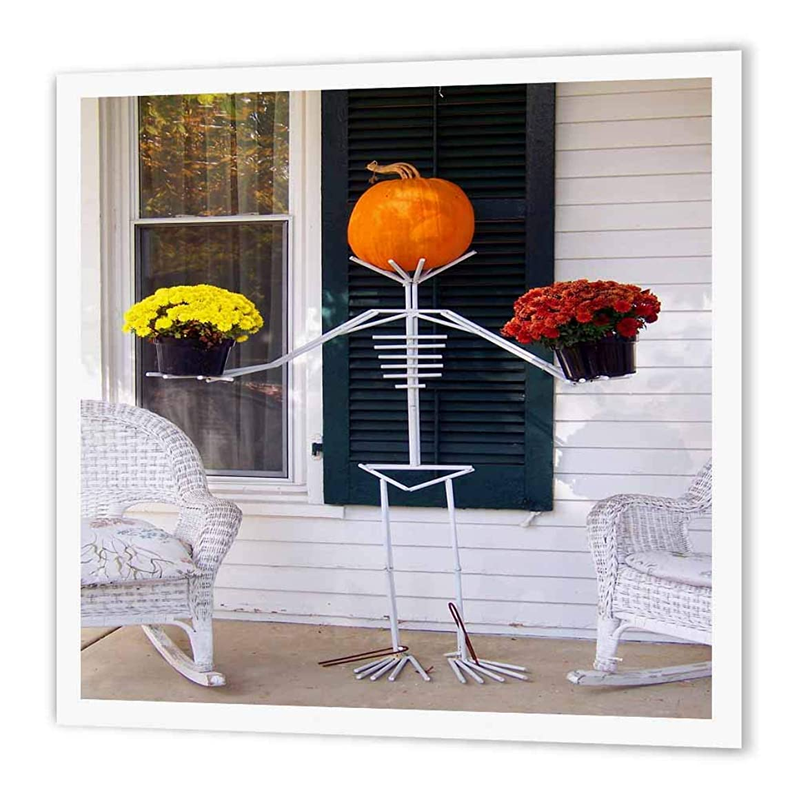 3dRose ht_156776_3 Skeleton, Pumpkin and Flower Holding Stand Iron on Heat Transfer Paper for White Material, 10 by 10-Inch