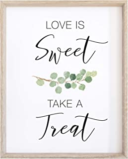 2 City Geese Love is Sweet Take a Treat Sign for Wedding Reception | Watercolor Eucalyptus Greenery On Textured Thick Cardstock Paper | (1) 8x10 Wedding Reception Decoration Sign