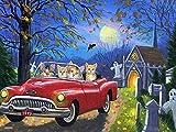 5D DIY diamante pintura gato regalos hechos a mano diamante bordado coche dibujos animados punto de cruz decoraciones navideñas A3 40x50cm