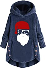 Opinionated Women Plus Size Button Plush Tops Hooded Loose Cardigan Wool Coat Winter Jacket