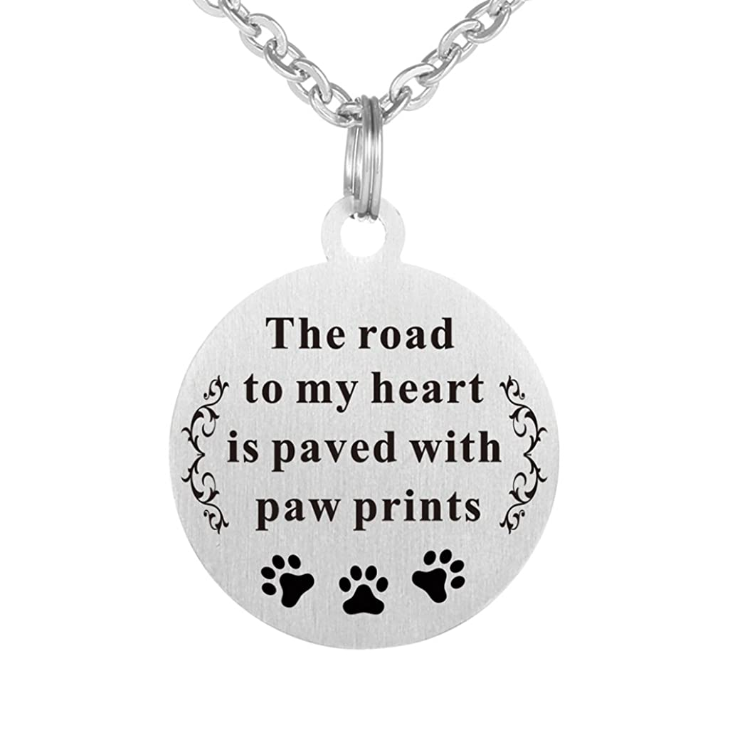 Kisseason Stainless Steel Dog Cat Pet Animal Lover Paw Print Gift Jewelry Keychain Pendant Necklace