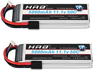 HRB 2PCS 11.1V 5000mAh 3S 50C-100C LiPo Battery with Traxxas TRX Plug for RC DJI F450 Quadcopter RC Helicopter Airplane Ho...
