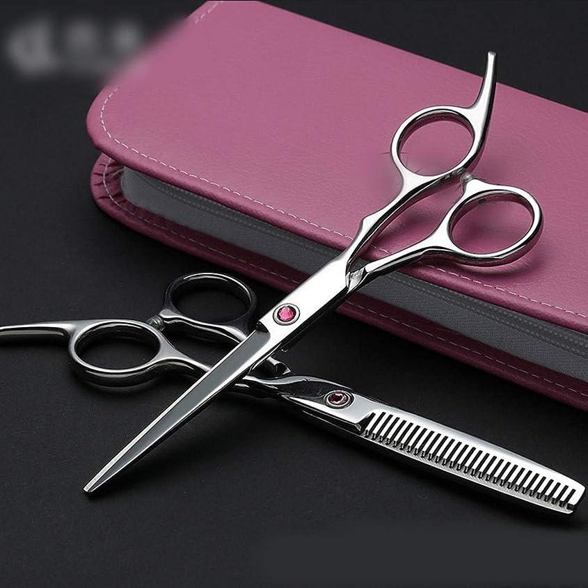貞幸運な静的Hairdressing 6インチプロフェッショナル理髪セット、フラット+歯はさみ理髪はさみセットヘアカット鋏ステンレス理髪はさみ (色 : Pink diamond)