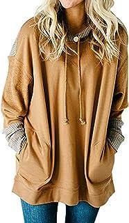 Women's Waffle Knit Splice Strappy Long Sleeve Hoodies Sweatshirts with Pocket Plus Size