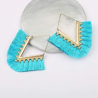 Ronshin Fashion Women Fashion Alloy Geometric V Shape Tassel Earrings