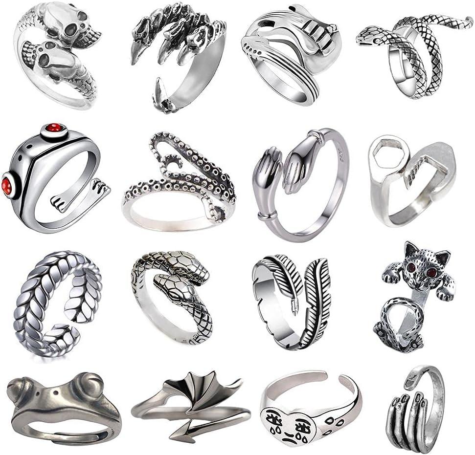 16 Pcs Open Rings Snake Ring Frog Ring Adjustable Rings Sets for Women Men Girls Punk Vintage Stackable Animal Finger Rings