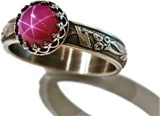 Size 8 8mm Created Pink Star Ruby Sterling Silver Ring Blooming Flower Band Crown Bezel Antique Finish