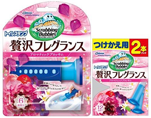 【まとめ買い】 スクラビングバブル トイレ洗浄剤 トイレスタンプ 贅沢フレグランス アロマティックブロッサムの香り 本体(ハンドル1本)+付替用2本セット