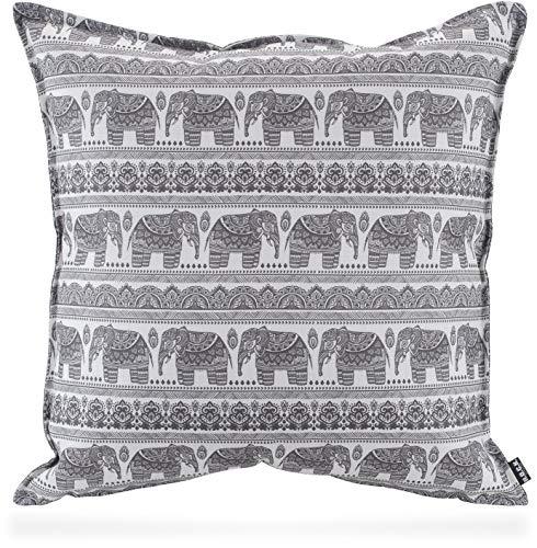 H.O.C.K. Ethno-Elephant Outdoor Wendekissen Elefanten-Motiv mit Biese grau wasserabweisend/lichtecht in verscheidenen Größen (Wendekissen 50x50cm, Grau)