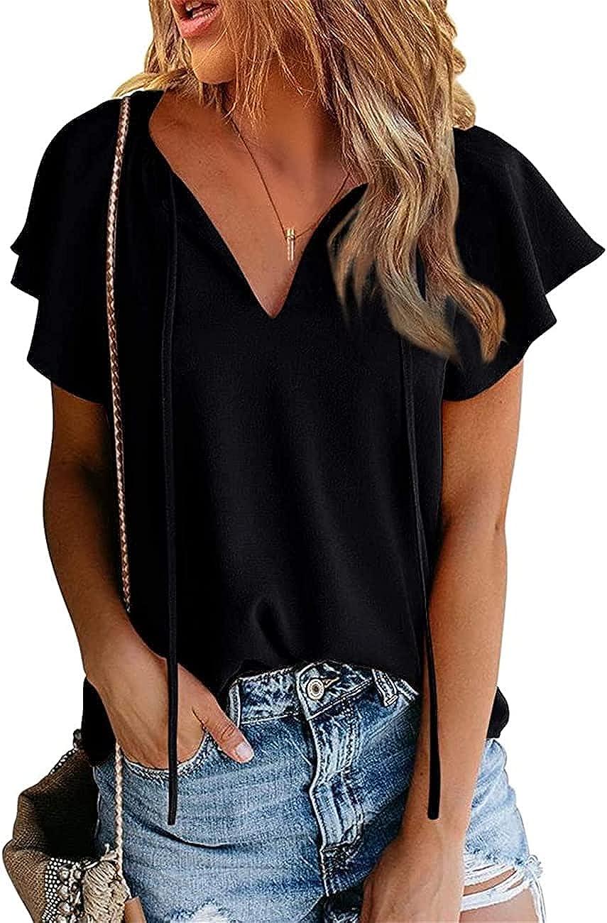 Womens Shirts Tops Summer Casual Boho Floral Printed V-Neck Drawstring Blouses