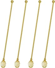 Stainless Steel Stir Sticks,BURLIHOME Dual-use Mixing Spoon Gold Swizzle Sticks For Coffee Cocktail Drinks At Home/Bar/Kitchen/Party-4 Pieces.