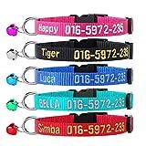 Collare per gatti personalizzato, collare per gatti di sicurezza personalizzato ricamato con campana...
