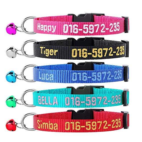 Brillianne Collare di Gatto Personalizzato, Collare di Gatto Personalizzato Ricamato con Campana e ID Nome dell'animale Domestico e Numero di Telefono, per Cucciolo di Cane Collare Ragazzo e Ragazza