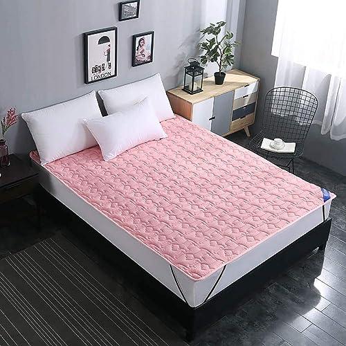 Schlafmatte bequeme Matratze Baumwolle rutschfeste Matratzenauflage, hypoallergene faltbare wasserdichte Bambusabdeckung Bettdecke Schlafmatte Schlafunterlage Schlafzimmer Bettauflagen - Rosa 150x200