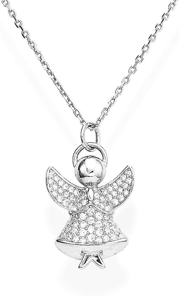 Amen, collana per donna con ciondolo, a forma di angelo,in argento 925 e zirconi A3BB