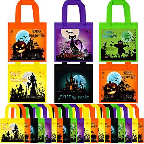 Cooraby 25 Packungen Halloween Taschen Halloween Vlies Taschen mit Griffen Halloween Trick Taschen Halloween Goody Taschen für Trick or Treat Halloween Party Supplies