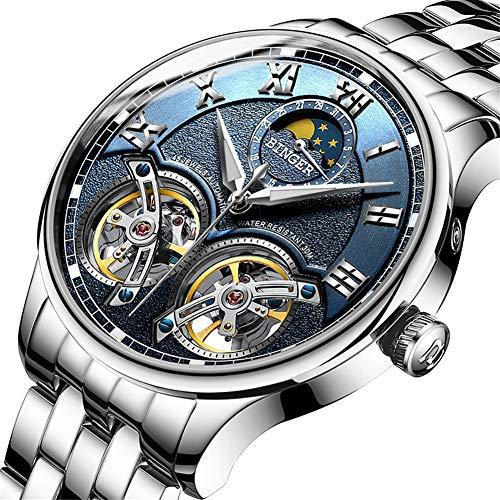 Binger Schweiz Uhren Double Tourbillon,Original Herren Automatikuhr Sapphire Japan Movement Self-Wind Fashion Men Mechanische Armbanduhr Leder 8606,C