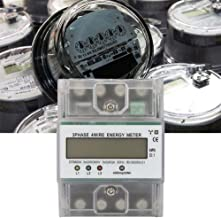 Electric Power Meter, 220/380V 5-80A Energy Consumption Digital Electric Power Meter 3 Phase 4P KWh Meter with LCD