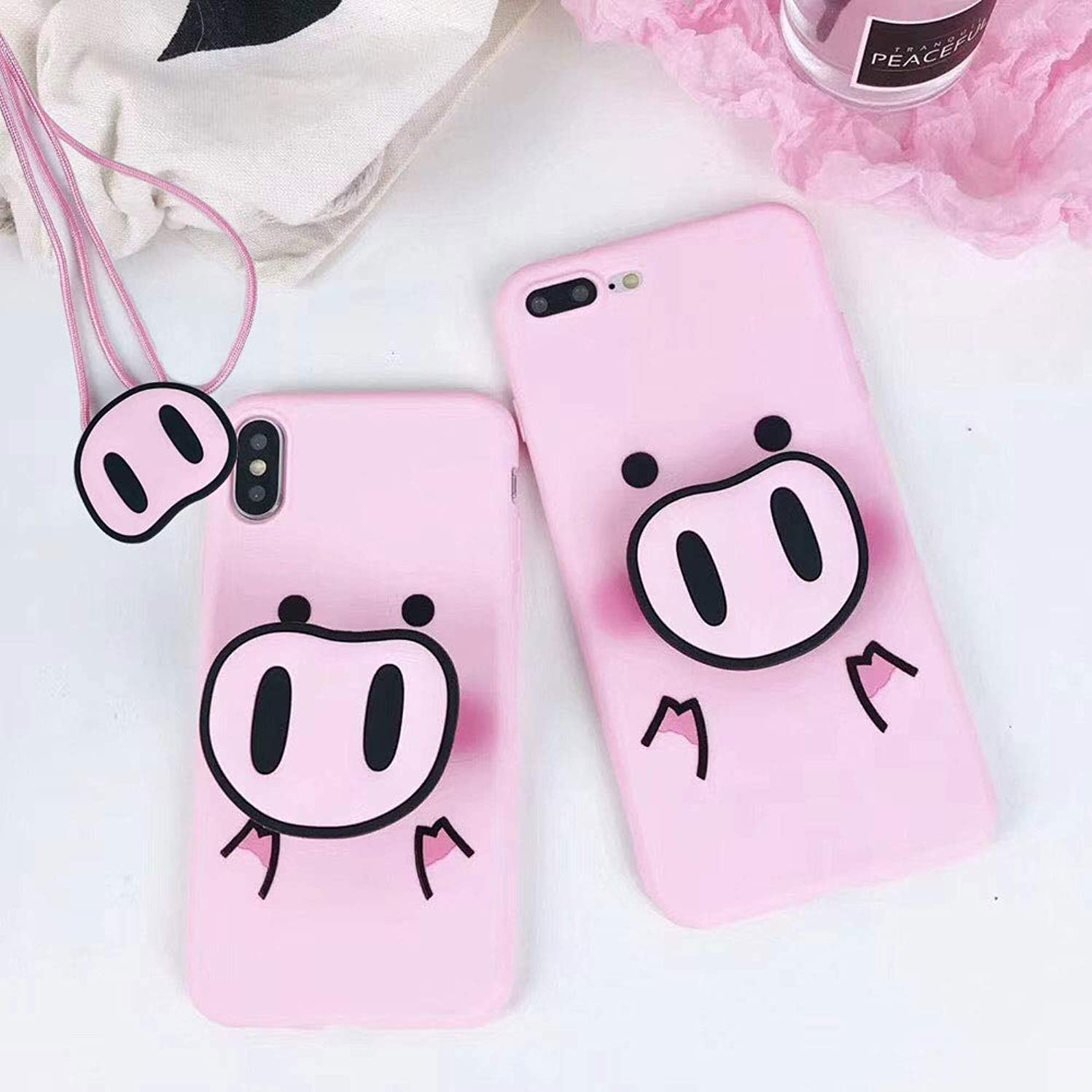 BONTOUJOUR iPhone 7 Plus/iPhone 8 Plus Case, Super Cute 3D Piggy Pattern Serie Soft TPU Cover Pig Style Protector Case with Phone holder and Lanyard - Cute PIG Nose