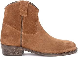 Via Roma 15 Woman's Texan Boot in Tan Leather