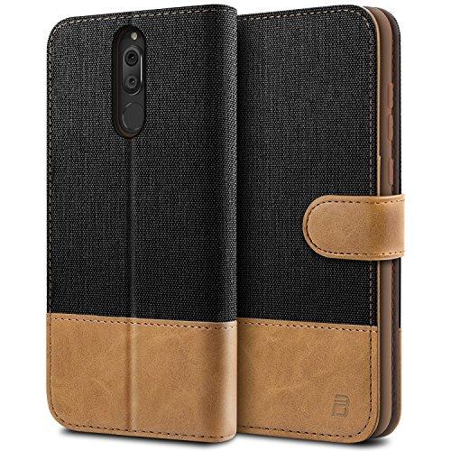 BEZ Hülle für Huawei Mate 10 Lite Hülle, Handyhülle Kompatibel für Huawei Mate 10 Lite, Handytasche Schutzhülle Tasche [Stoff & PU Leder] mit Kreditkartenhaltern, Schwarz