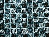 Brokat-Stoff, quadratisch, gewebt, metallisch, Türkis,